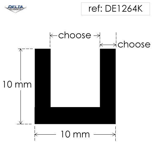 Square U Channel Rubber Extrusion DE1264K
