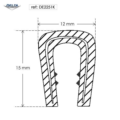 Flexible self grip rubber seal extrusion DE2251K