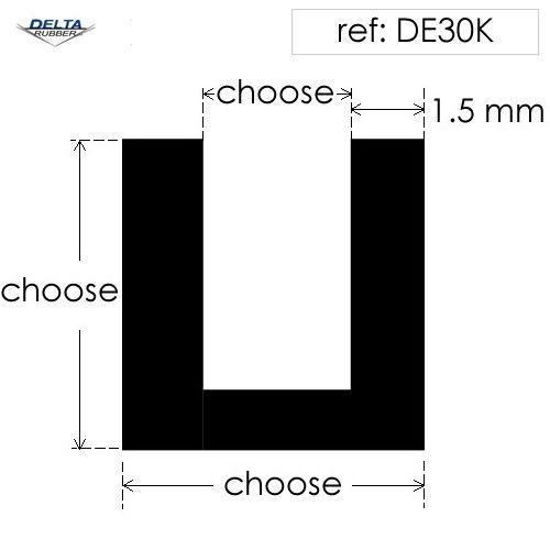 Square U Channel extrusion DE30