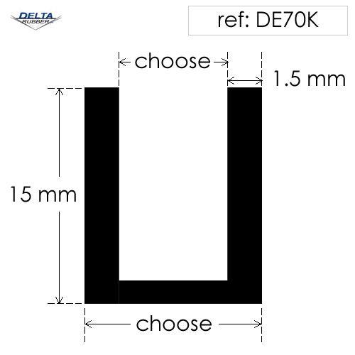 Square U Channel extrusion DE70