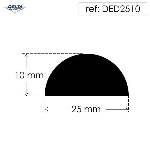 Solid rubber D section fender