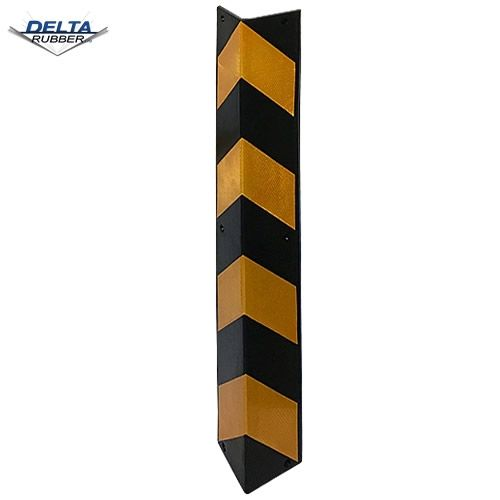 Straight rubber corner guard in durable rubber.  Yellow and black contrast stripes for high visibility