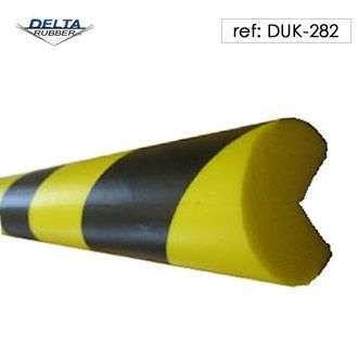 Round foam corner guard with contrast black and yellow stripes for high visibility