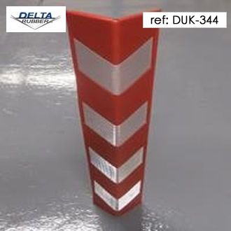 Red and contrast reflective silver chevron corner guard protector