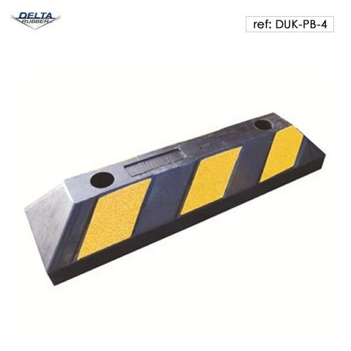 Rubber wheel stop with black and yellow contrast stripes for high visibility. 55cm long.
