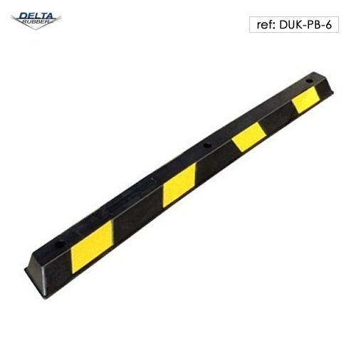 Rubber wheel stop with contrast yellow and black stripes for high visibility. 165cm in length