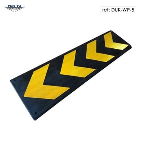 Rubber wall protecter with chevron and contrast reflective yellow and black stripes